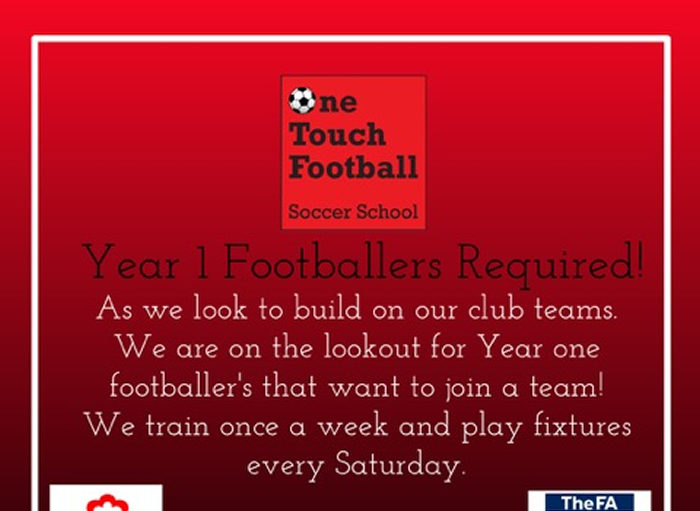Year 1 Footballers Required